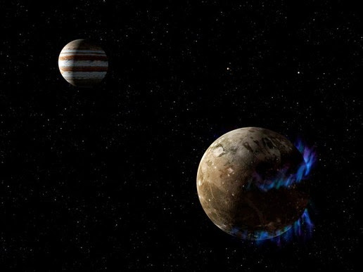 Illustration of Ganymede moon orbiting Jupiter. Hubble Space Telescope to detect the aurora in the month which is controlled by the magnetic field of Ganymede. Pictures released March 12, 2015./
