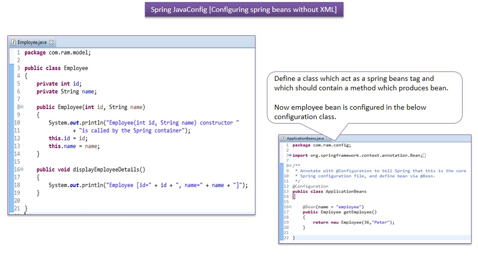 JAVA EE: Spring bean java based configuration using