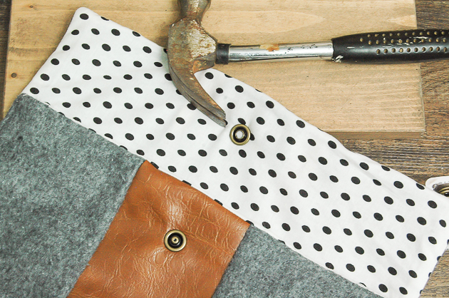 adding snaps to felt and faux leather purse