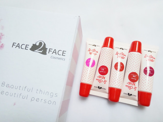 Review Face 2 Face Lip Stain Xoxo all Shades