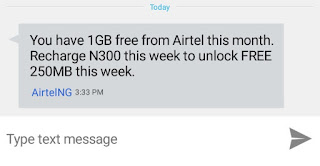 Message from Airtel to recharge 300 Naira and get 1gb
