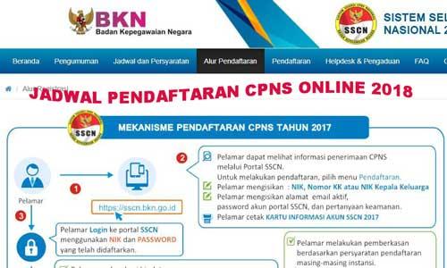 Jadwal Pendaftaran CPNS Online Tahun 2018