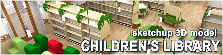 3d sketchup model children's library furniture
