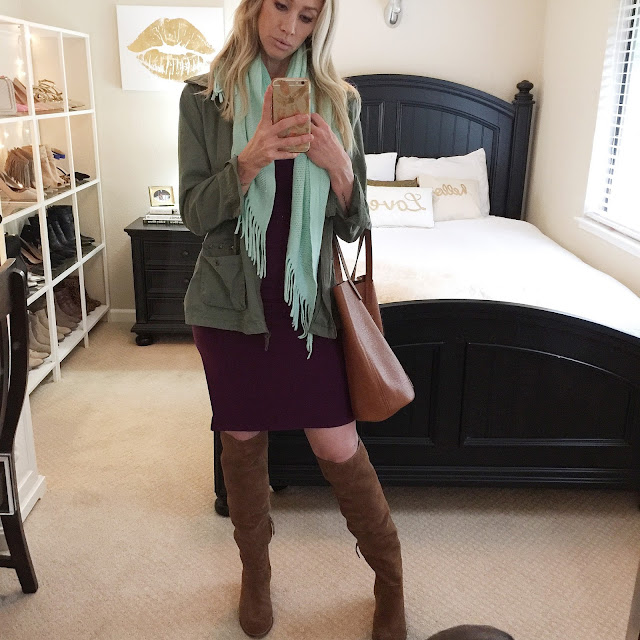 aubergine dress green utility jacket mint scarf cognac tote