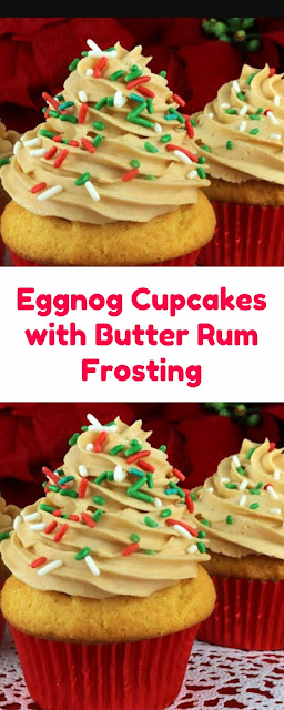 Eggnog Cupcakes with Butter Rum Frosting