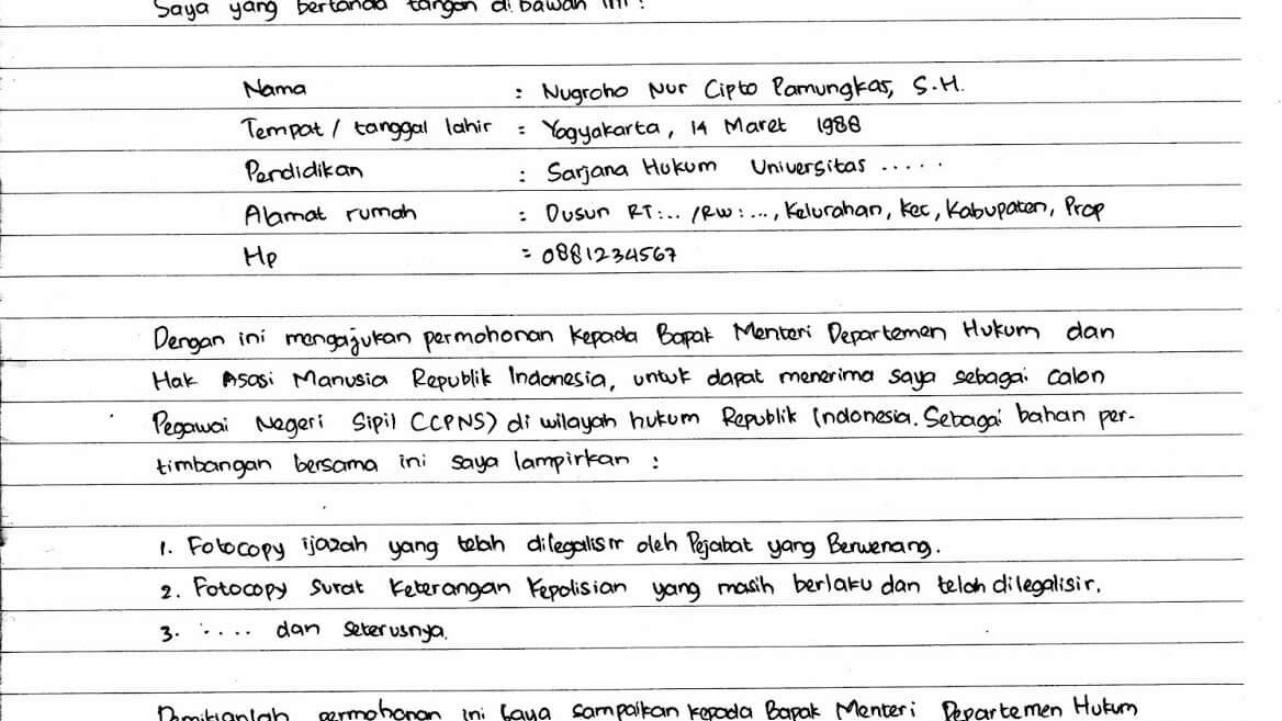 Contoh Surat Lamaran Gtt