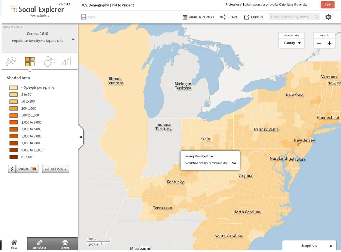 1810 Census Population Density Per Square Mile. Map Provided by Social Explorer.org.