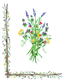 Wild Floral Bouquet with Wooden Sticks Outline