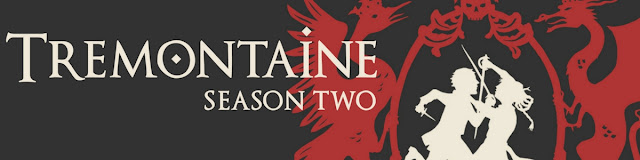 Banner for Tremontaine Season Two, featuring the title against a black background. To the right is a white silhouette depicting two people swordfighting, flanked by the red silhouettes of a crowned swan and a dragon.