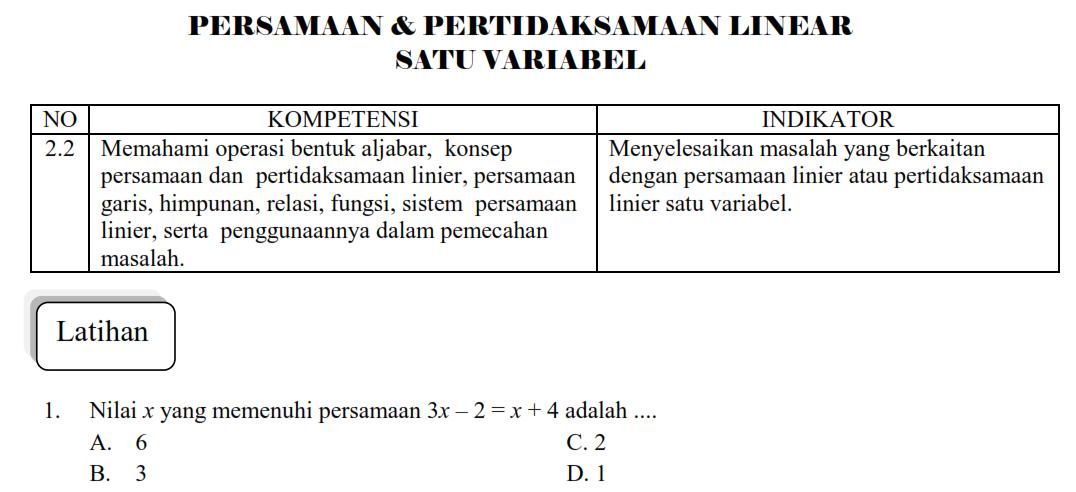 Persamaan Linear Tiga Variabel Aljabar Linear Wikipedia Bahasa Indonesia Ensiklopedia Latihan Persamaan Dan Pertidaksamaan Linear Satu Variabel Matematika