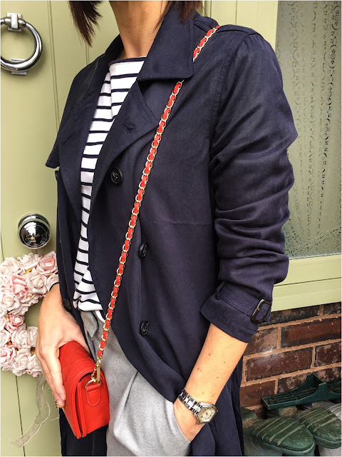 My Midlife Fashion, H & M striped breton top, East tencel trench coat, mango pleated trousers, medium leather quilted handbag