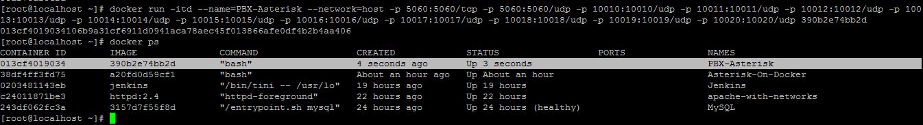 Asterisk on Docker
