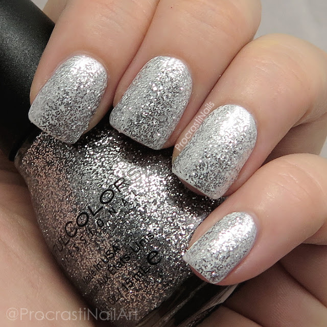 Sinful Colors Queen of Beauty which is a silver microglitter topper that can be built up to full opacity