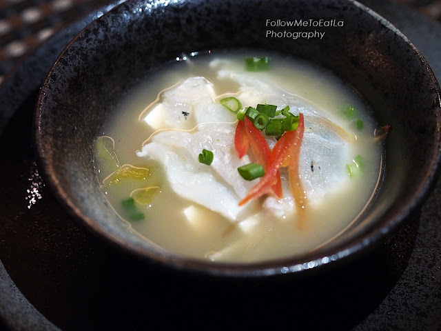 FISH BONE SOUP WITH GIANT ESTUARY GROUPER CARPACCIO