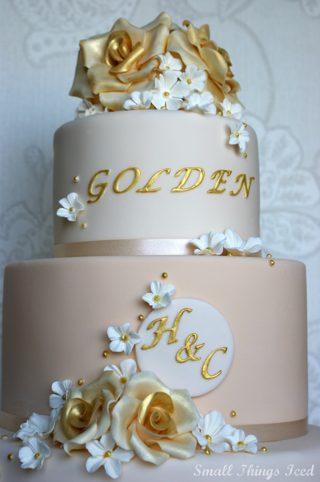 Small Things Iced Golden Wedding Anniversary Cake