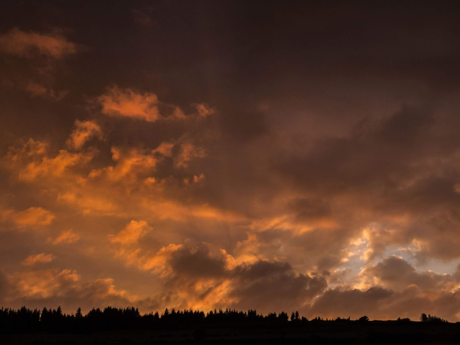 Dark orange sunset in the Boggeragh Mountains in North County Cork.