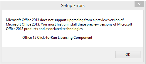 Uninstall Office 2013 Preview - Install Office 2013 Error