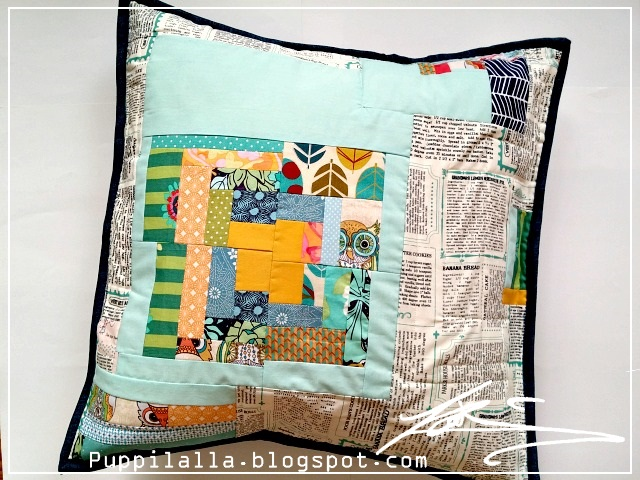 Puppilalla, Patchwork, Pillowcase, Improv, Quilting, wonky log cabin, modern quilting, scrap buster, scrappy project
