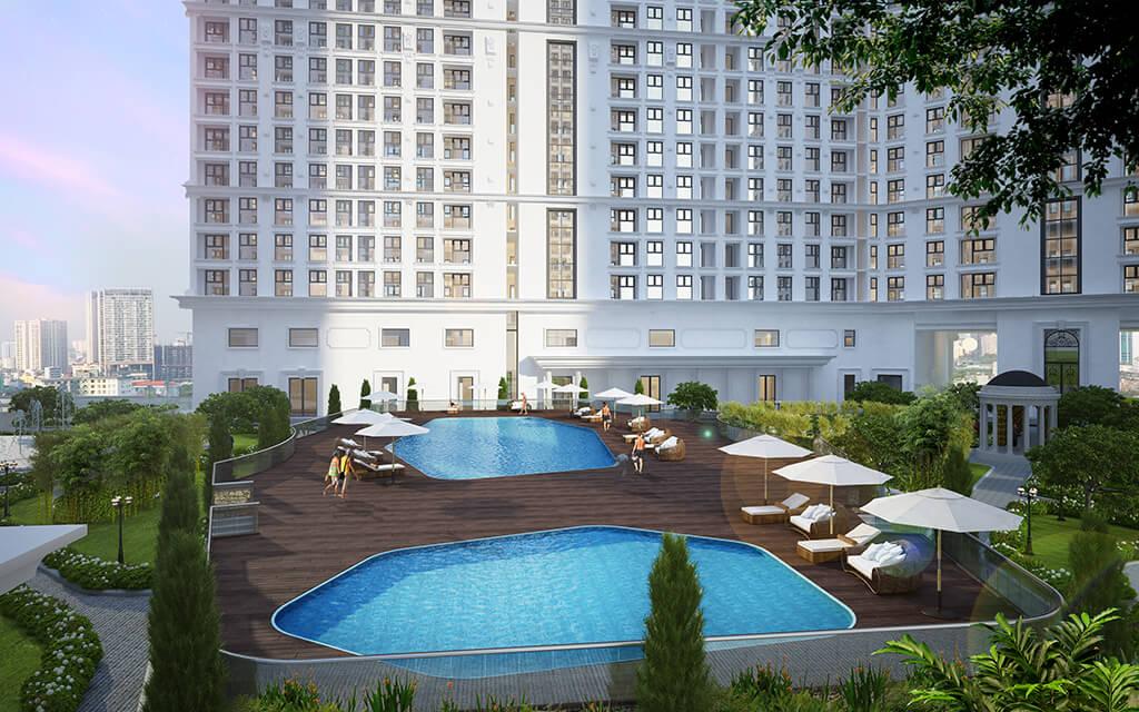 Bể bơi ngoài trời tại dự án The Emerald Mỹ Đình