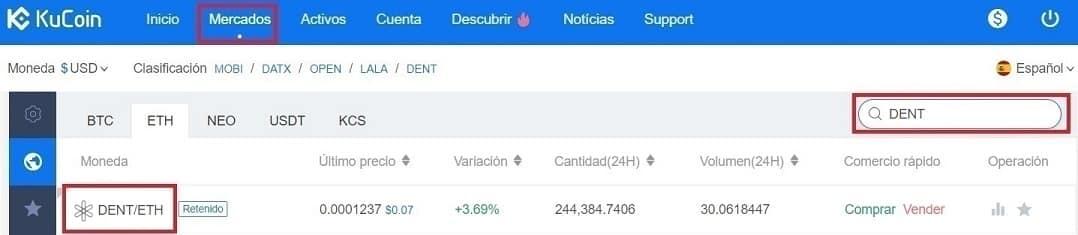 Comprar y Guardar en Monedero Criptomoneda DENT Tutorial Paso a Paso en Español
