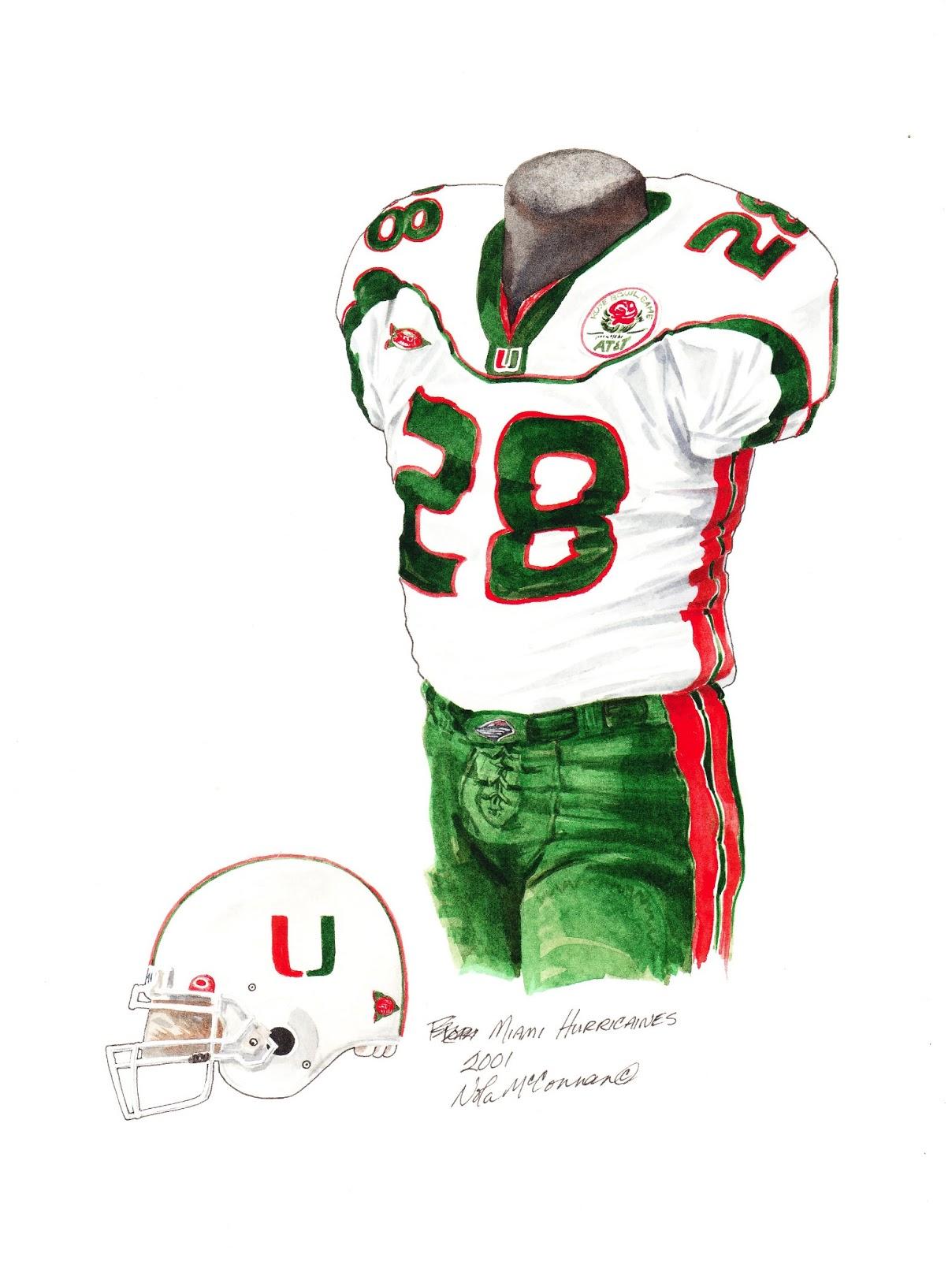16e61e02c 2001 University of Miami Hurricanes football uniform original art for sale