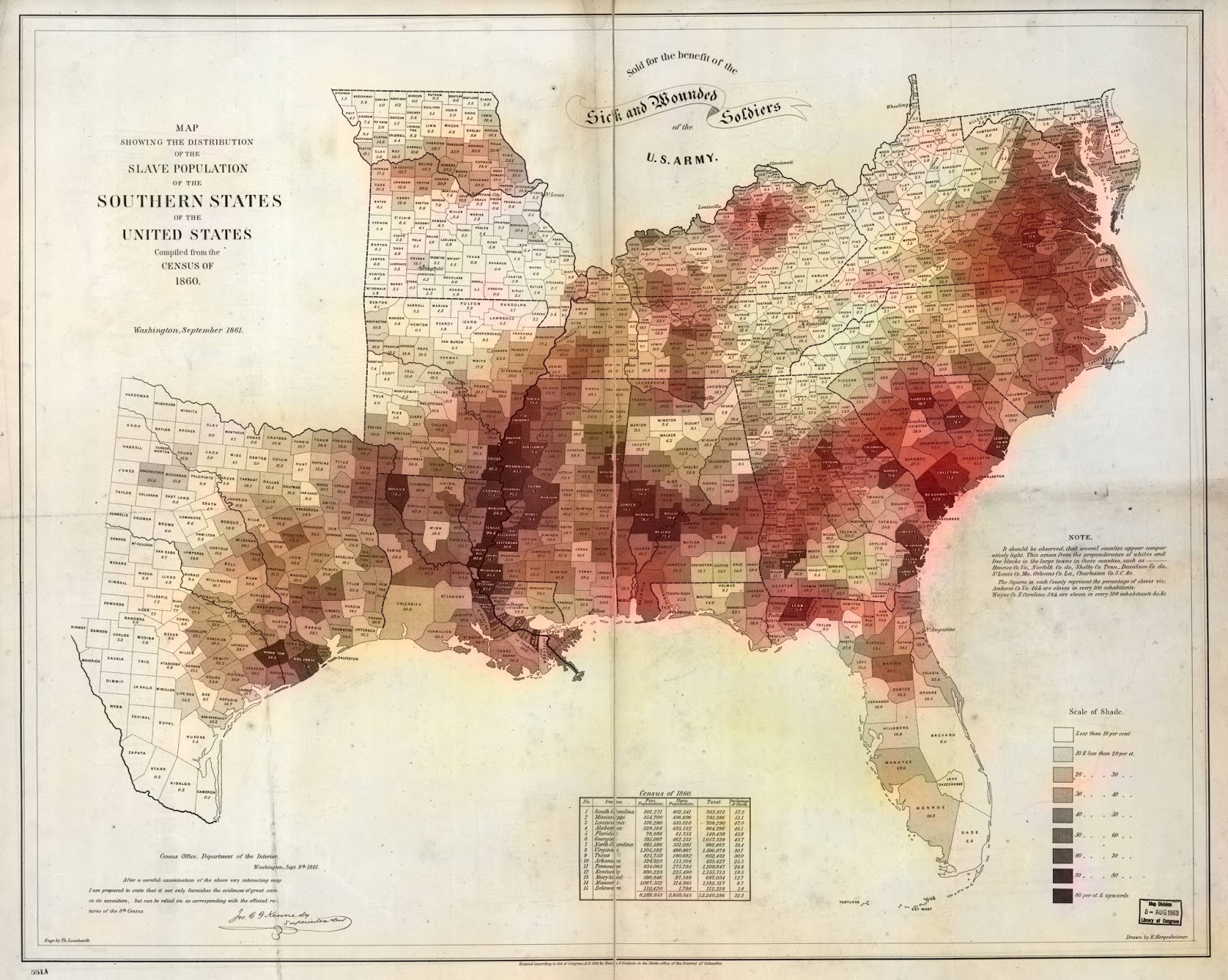 Map showing the Slave Population of Southern States (1861)