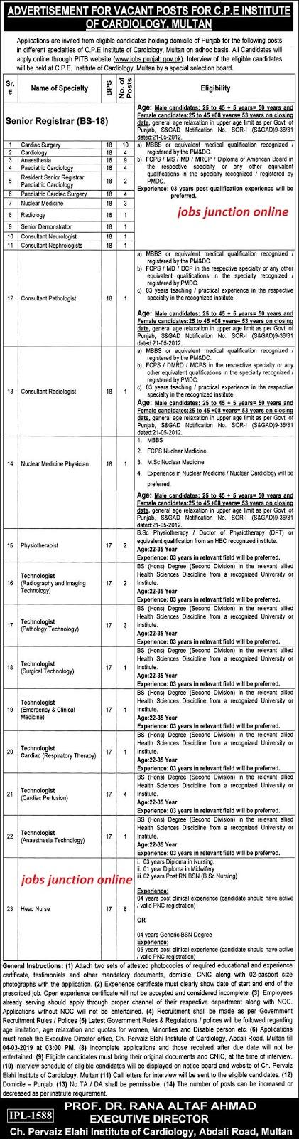 Chaudhry Pervaiz Elahi Institute Of Cardiology Jobs 2019