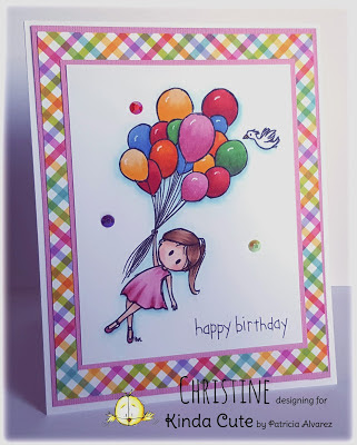 Card using Girl and balloons digital stamp