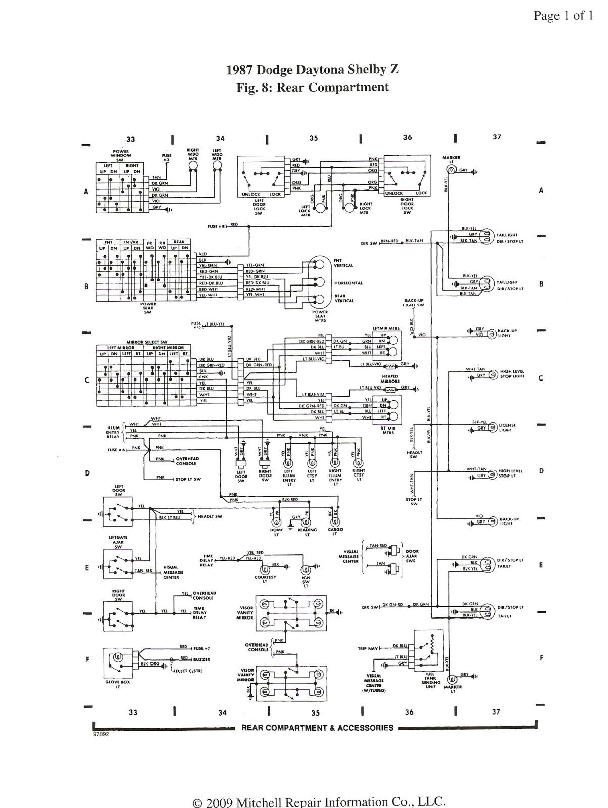 Free Auto Wiring Diagram  1987 Dodge Daytona Shelby Z Rear Compartment