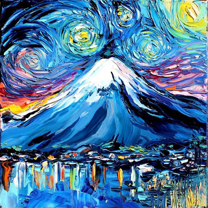 08-Mount-Fuji-Japan-Aja-Trier-Vincent-Van-Gogh-Paintings-and-a-Sprinkle-of-Pop-Culture-www-designstack-co