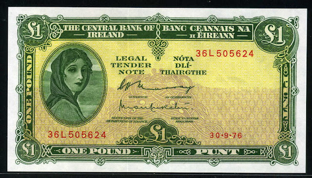 Ireland currency paper money pound banknote, Lady Lavery