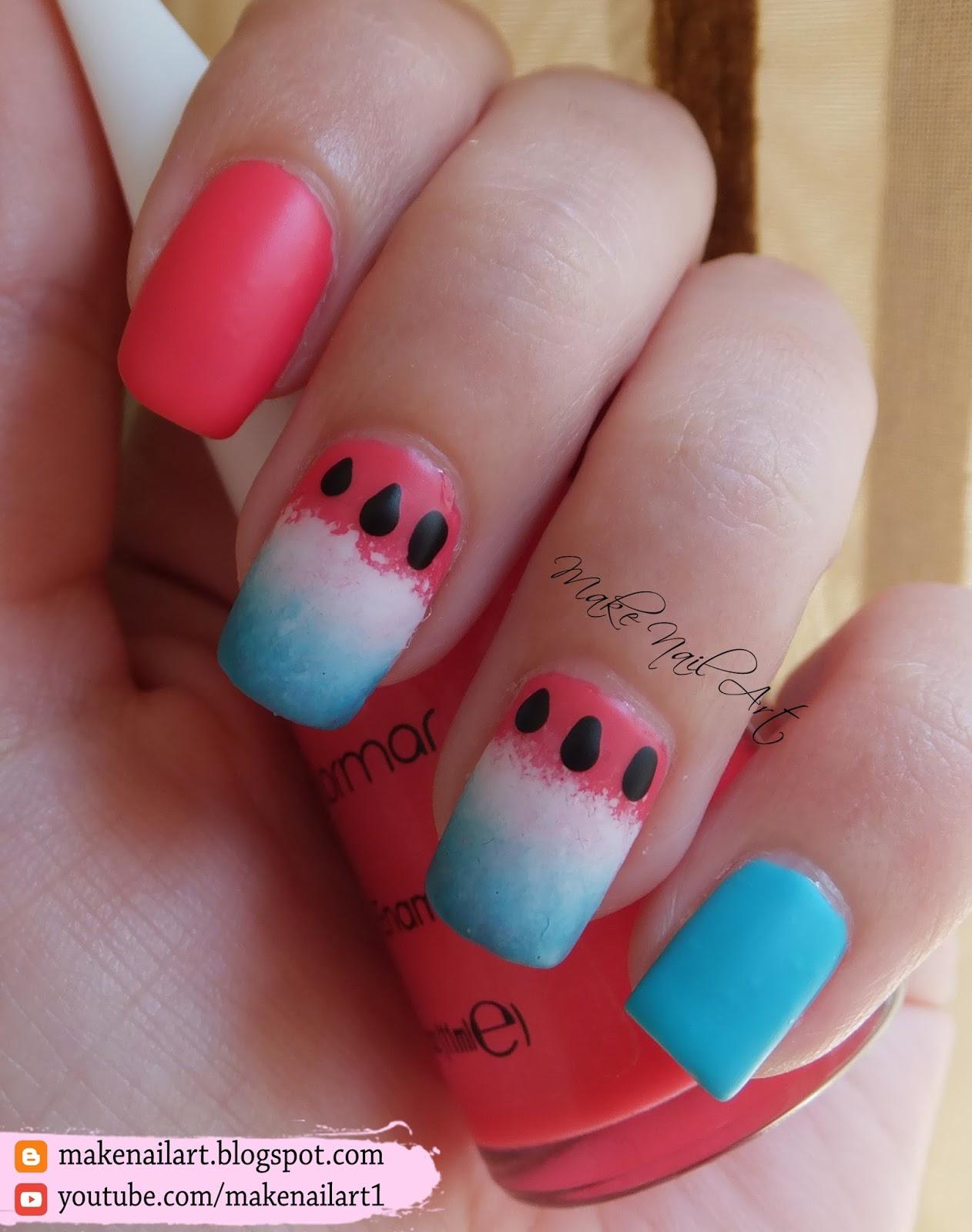 Make Nail Art Watermelon Inspired Nail Art Design Tutorial