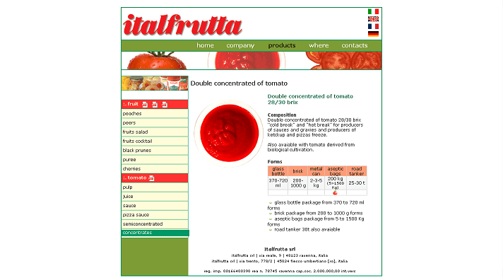 Picture to Italian food exporter company named Italfrutta.
