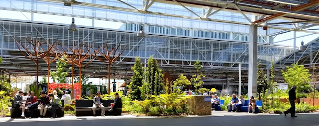 The garden area within the Main Assembly Building of the Tonsley precinct. People are sitting on dark benches and blue benches. The roof structure has exposed framework. Parts of it are open to allow fresh air and  light into the space. There are live trees and plants but also metal sculptures in the shapes of winter trees that have lost their leaves.