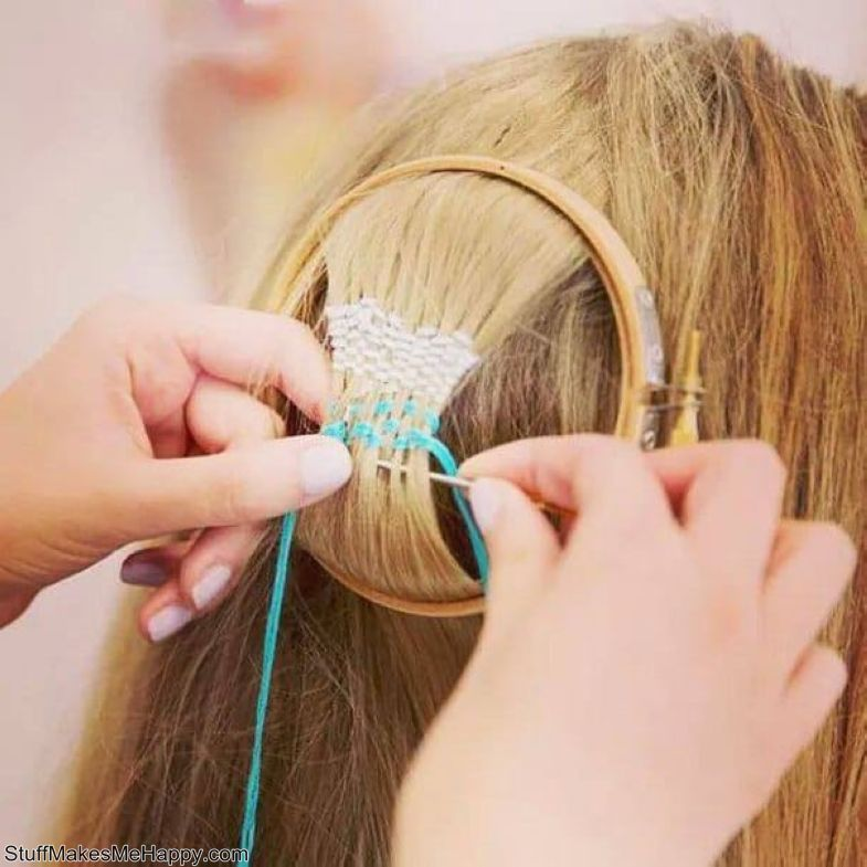 Embroidery on hair