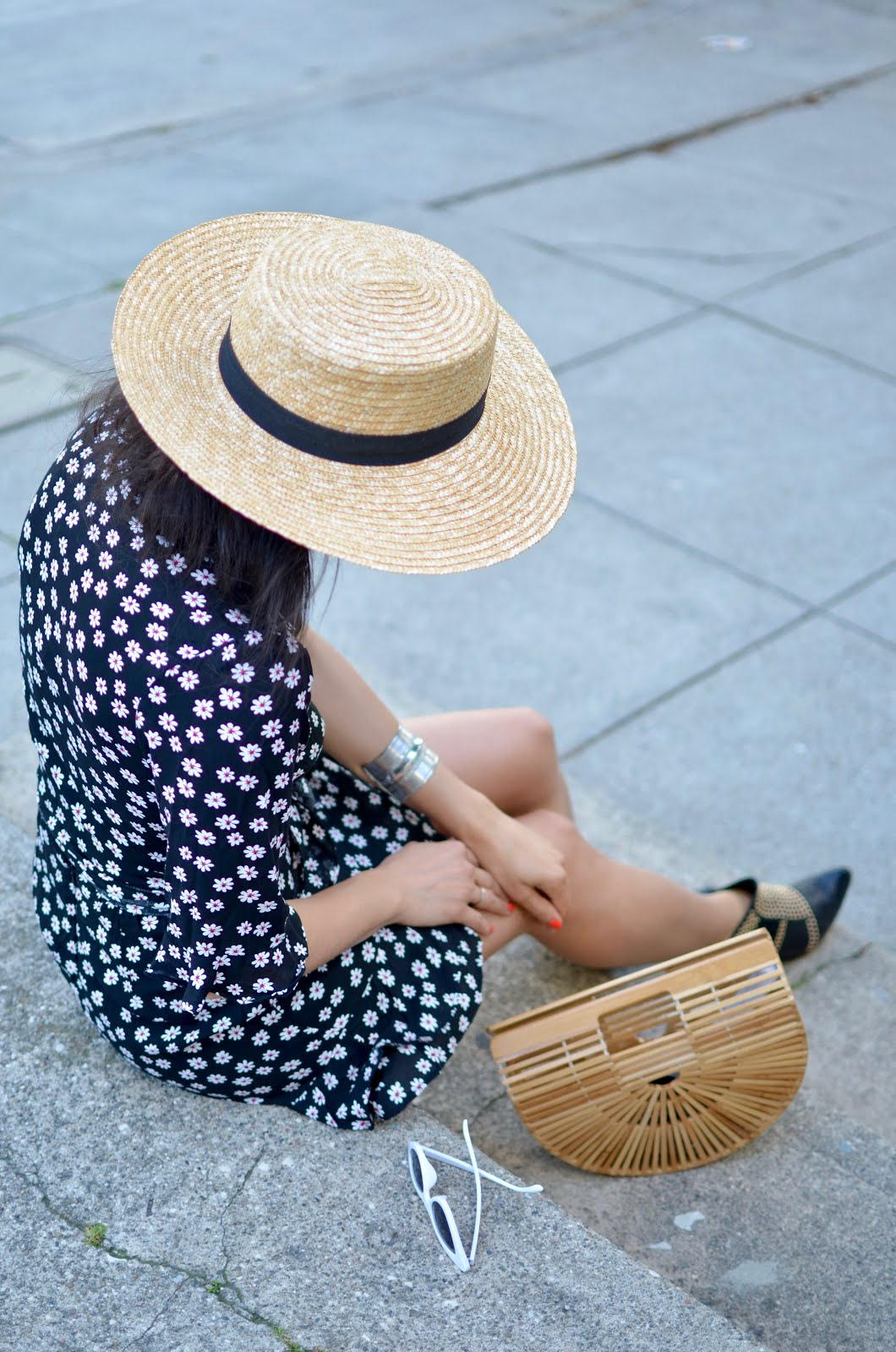 straw summer hat, large straw fedora, matching twin sets, large silver cuff, bohemian summer style, white cateye sunglasses