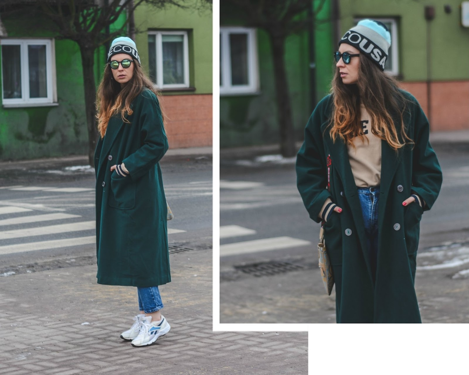 green maxi coat outfit