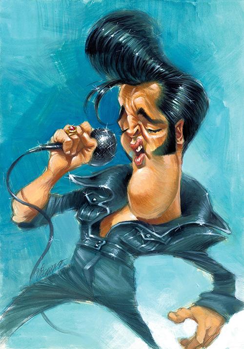 """Caricatura de """"Elvis Presley"""" por Joan Vizcarra"""