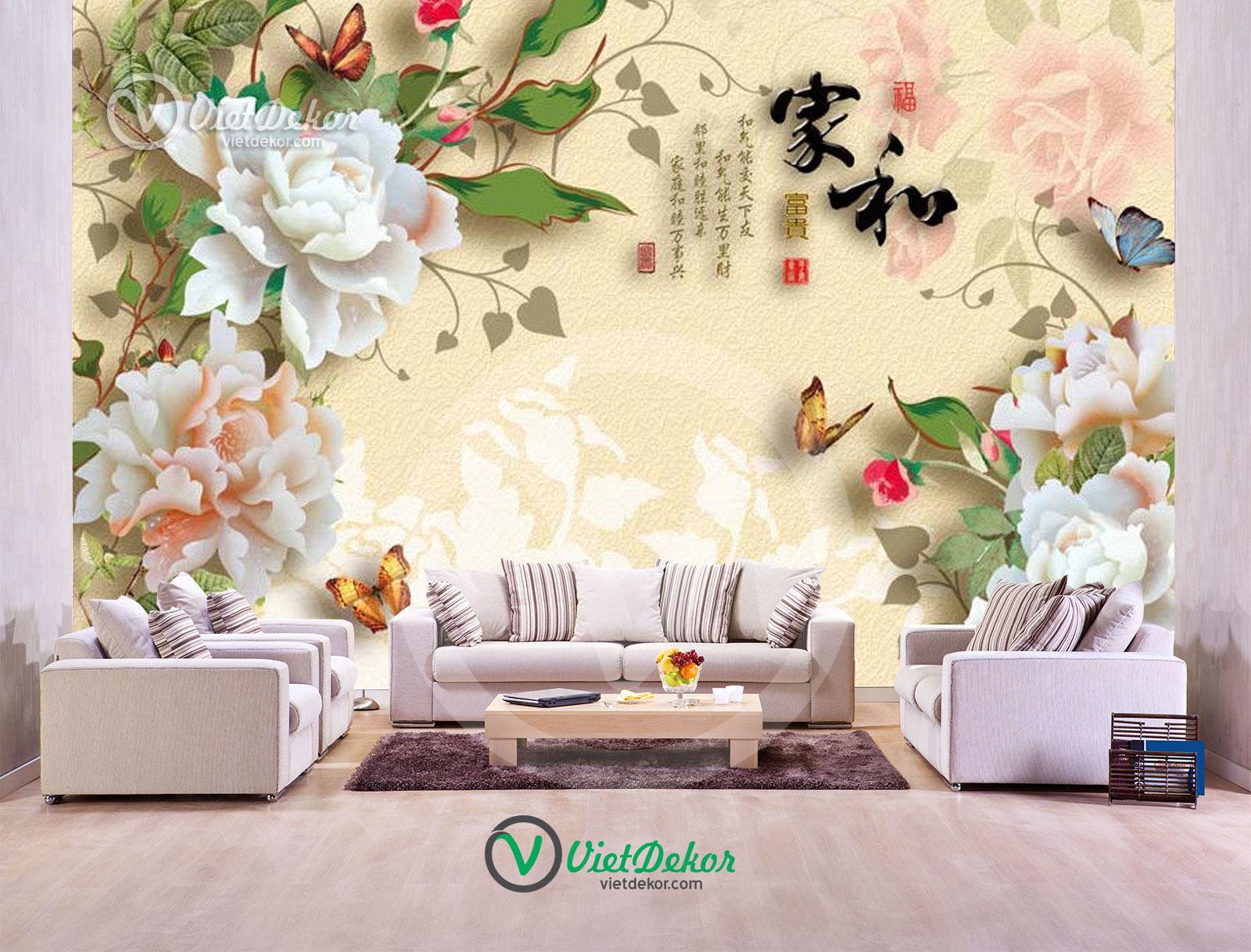 Tranh dán tường 3d hoa mẫu đơn bướm bay