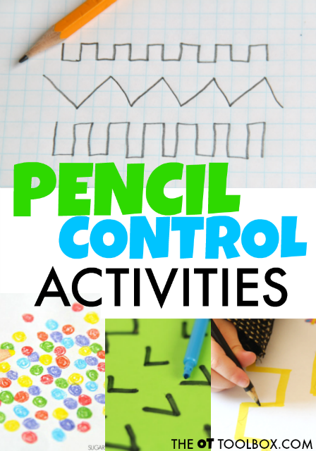 Pencil control activities can help kids improve legibility during handwriting.
