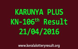 KARUNYA PLUS KN 106 Lottery Result 21-4-2016