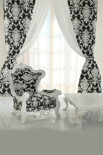 Sheer fabric black white modern curtain designs for living room
