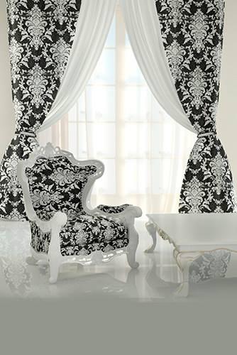 Sheer fabric black white modern curtain designs for living room
