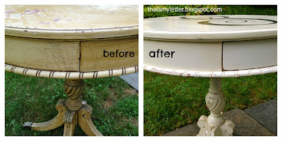 round side table drawer detail before and after