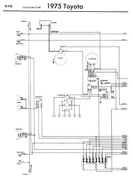 repairmanuals: Toyota Land Cruiser FJ40 1975 Wiring Diagrams