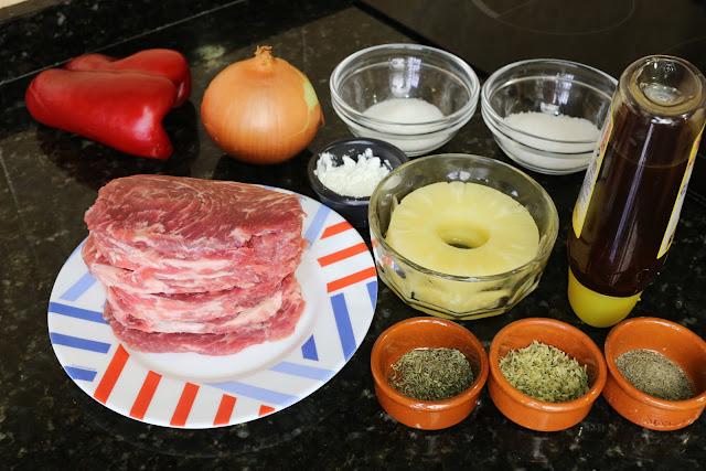 Ingredientes para presa ibérica en salsa agridulce