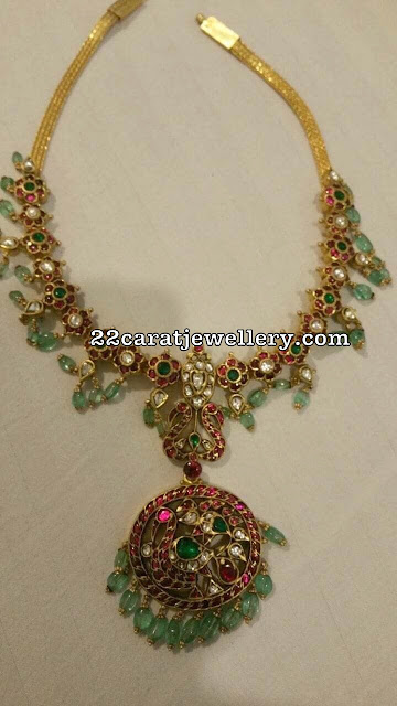 Floral Kundan Necklace with Light Emerald Drops