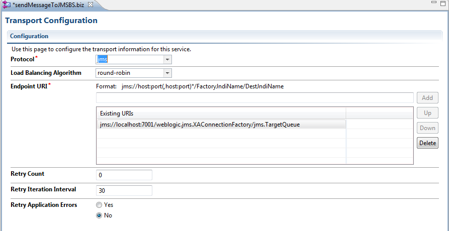 OSB Set JMS Custom Header Properties JMS Endpoint URI
