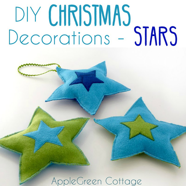 diy christmas decorations felt stars free pattern by applegreen cottage add a cozy look - Christmas Star Decorations