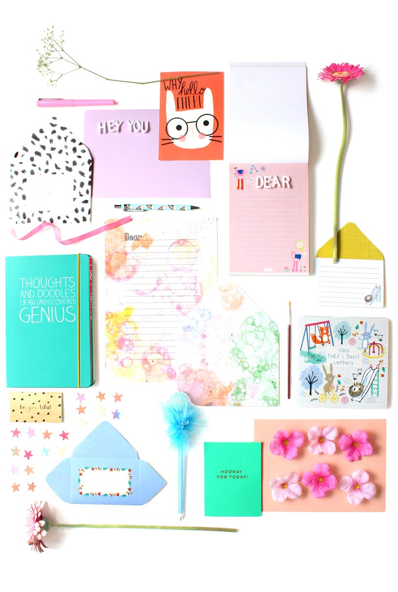 snail mail letter writing flatlay